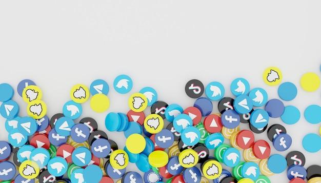 Pila de icono de redes sociales populares 3d render ilustración blanca limpia y simple
