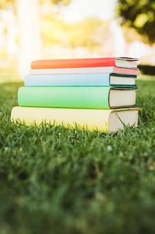 Pila de libro brillante sobre la hierba verde