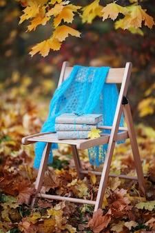 Pila de libros olvidados en una silla en el parque