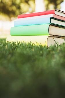 Pila de libros de texto con cubiertas brillantes sobre hierba verde