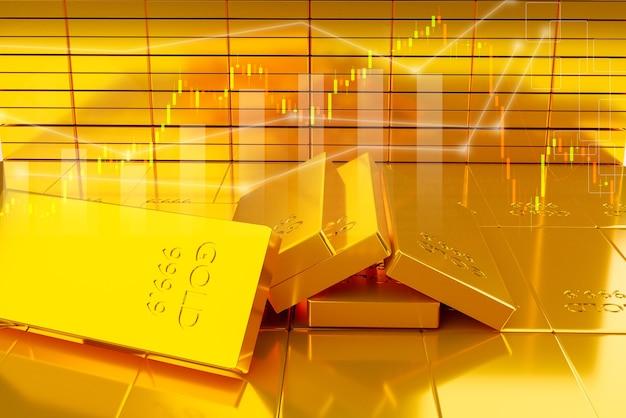 Pila de lingotes de oro. concepto financiero e inversión en acciones de oro, representación de ilustración 3d