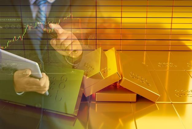 Pila de lingotes de oro. concepto financiero, representación de ilustración 3d