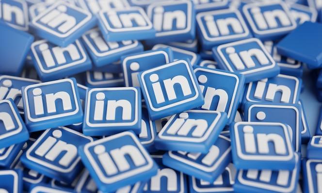 Pila de logotipos de linkedin en 3d