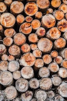 Pila de madera cortada que forma el fondo