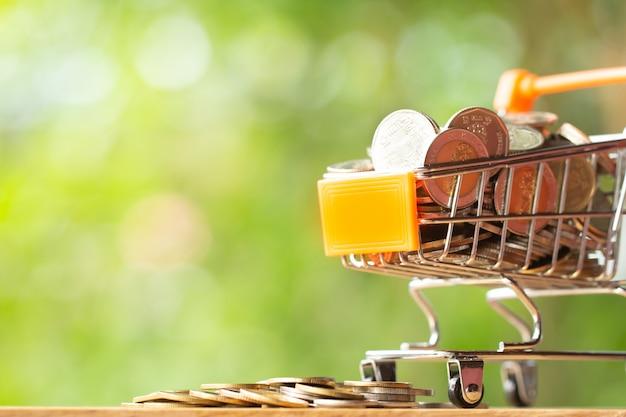 Pila de monedas en el carro de compras anaranjado de las compras en el verdor con el fondo del bokeh de la belleza