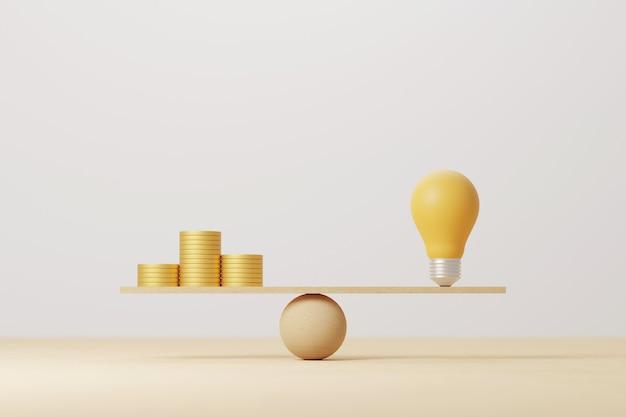 Pila de monedas comparar la idea de la bombilla en el balancín de escala de madera. la moneda de oro dinero compara el equilibrio con el concepto de conocimiento. ilustración 3d