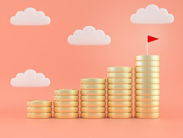 Pila de monedas concepto de objetivo financiero de ahorro de dinero.