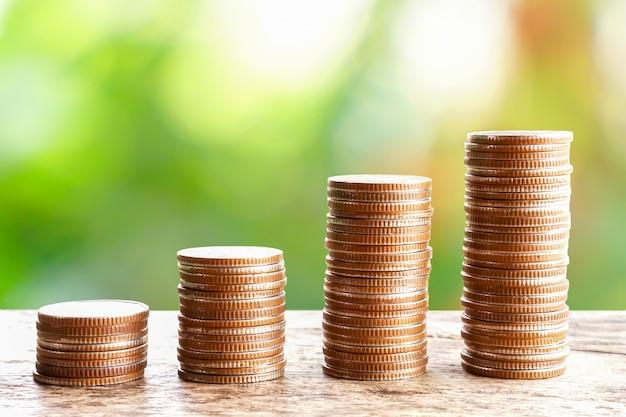 Pila de monedas sobre fondo de naturaleza