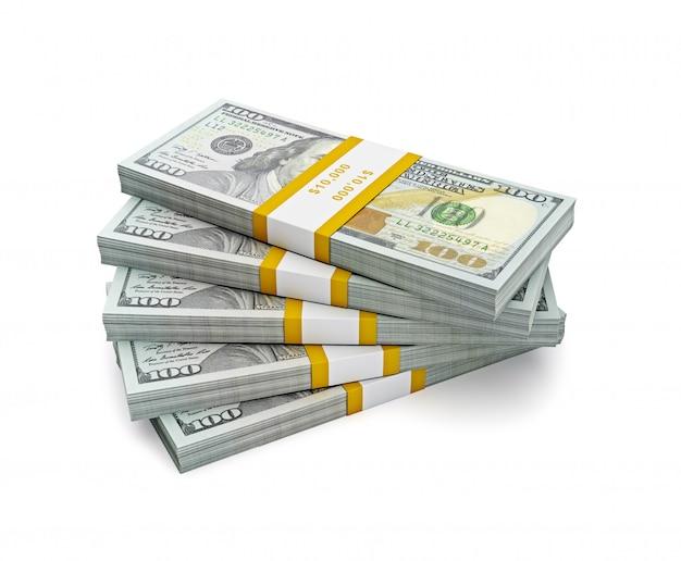 Pila de nuevos billetes de la edición 2013 de dólares estadounidenses