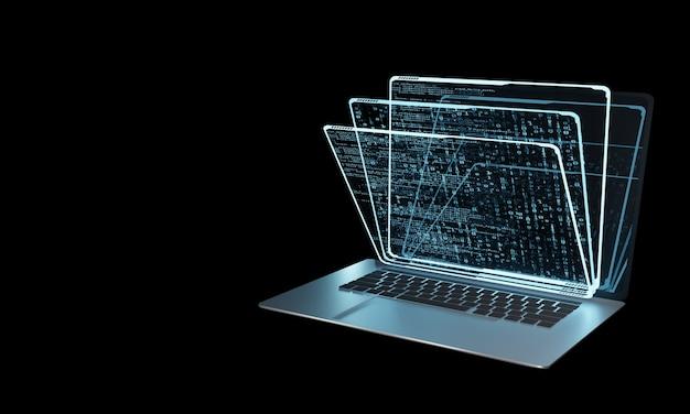 Pila de paneles de hologramas virtuales en computadora portátil