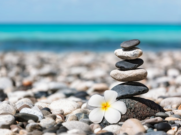 Pila de piedras equilibradas zen con flor de plumeria