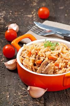 Pilaf - gachas de arroz con carne y especias