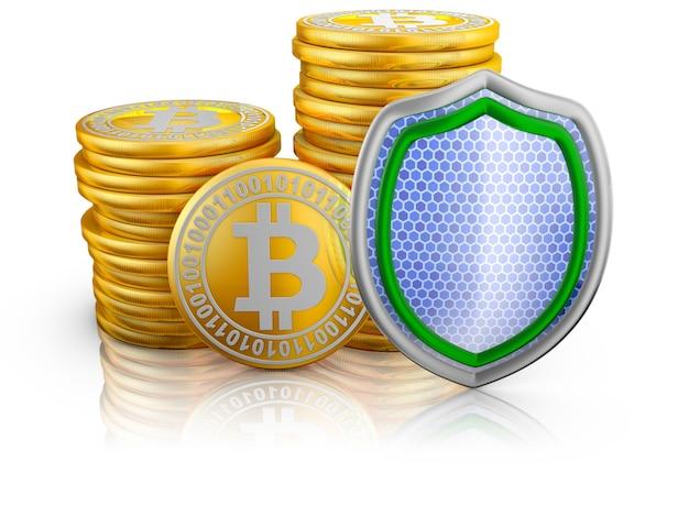 Pilas de bitcoins y escudo.