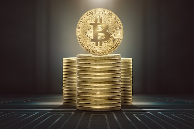 Pilas de bitcoins de pie