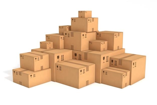 Pilas de cajas de cartón