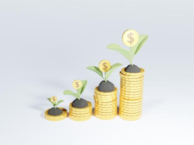 Pilas de monedas 3d con árbol de dinero en crecimiento