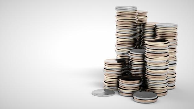 Pilas de monedas sobre un fondo blanco. renderizado 3d