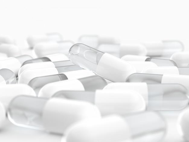 Píldora cápsula blanca, médica
