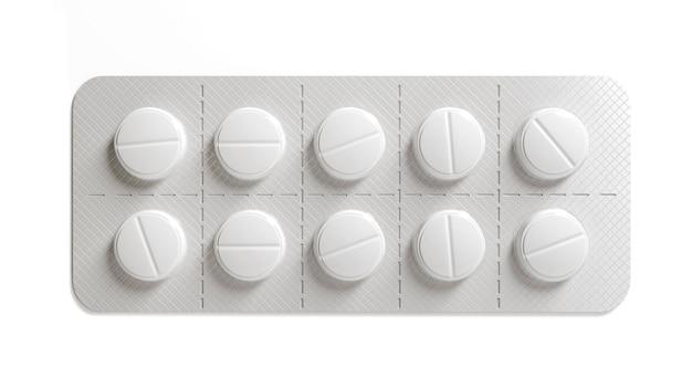 Píldoras de medicina sobre superficie blanca. pastilla blanca la cura para el virus. píldoras con vitaminas o suplementos bio. ilustración 3d