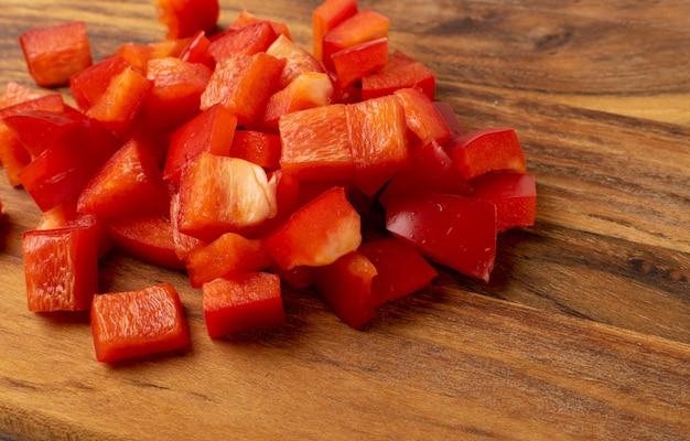 Pimentón picado o pimiento rojo cortado