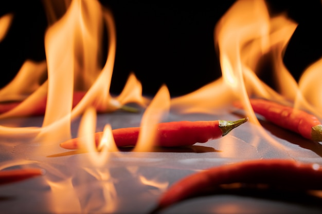 Pimiento picante y rojo en llamas de fuego sobre fondo negro