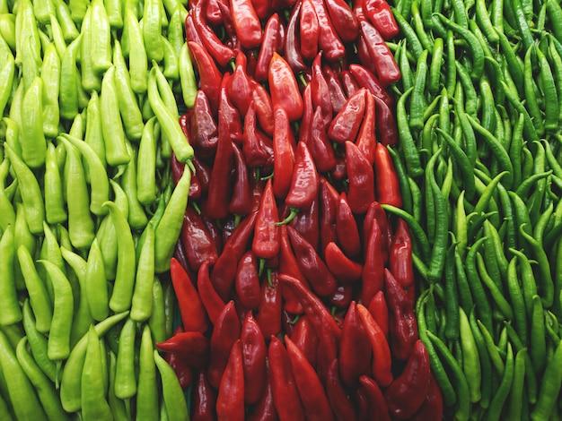 Pimientos verdes y rojos