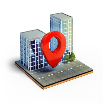 Pin de cartografía en la sección transversal de la ciudad isométrica