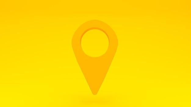 Pin de ubicación gps amarillo sobre fondo amarillo