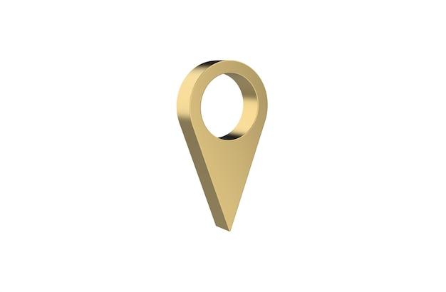 Pin de ubicación gps de oro sobre fondo blanco.