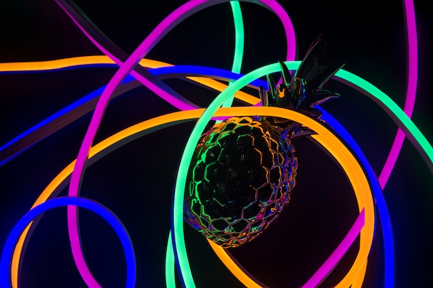 Piña cubierta de luces de neón