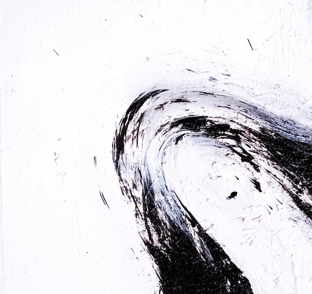 Pincelada pintura al óleo color negro resumen fondo blanco.
