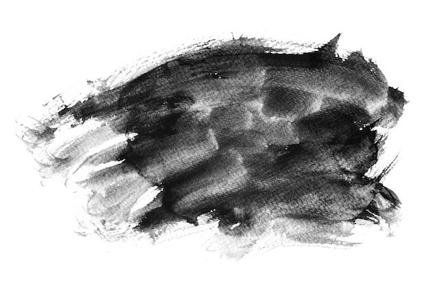 Pinceladas de acuarela negra, dibujo a mano