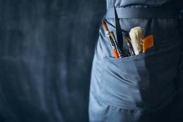 Pinceles para pintar en el bolsillo de cerca