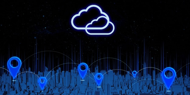 Pines de gps y transmisión por satélite gran ciudad llena de edificios altos asignación de coordenadas en un mapa de navegación de ilustración 3d