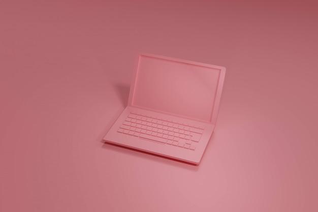 Pink laptop 3d render, en tonos pastel