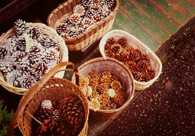 Pinos en cesta de madera organizada
