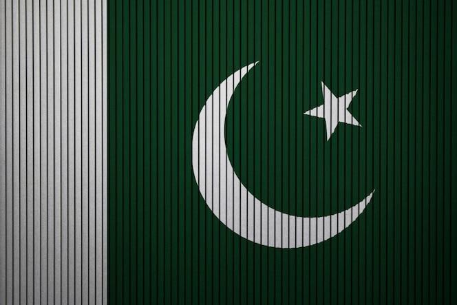 Pintado bandera nacional de pakistán en un muro de hormigón