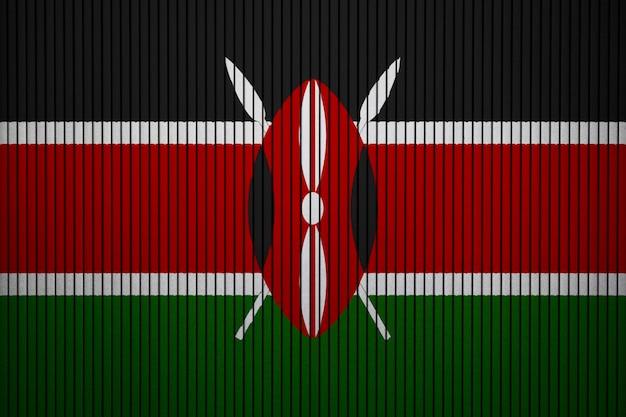 Pintado bandera nacional de kenia en un muro de hormigón