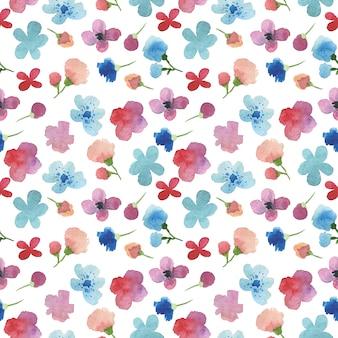 Pintado a mano sin patrón acuarela con flores y pétalos.