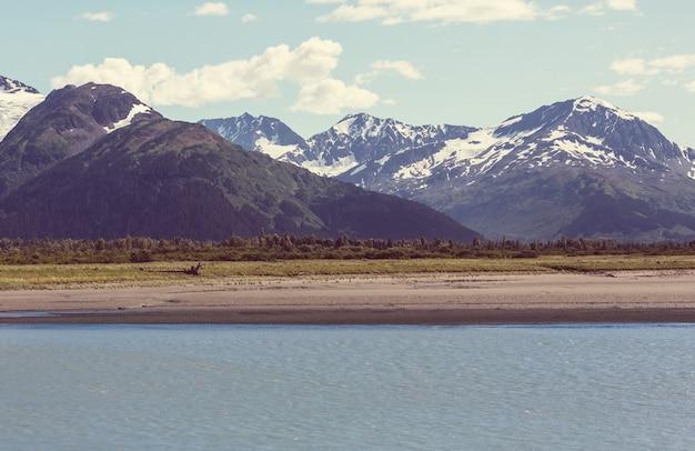 Pintorescas montañas de alaska en verano. macizos nevados, glaciares y picos rocosos.