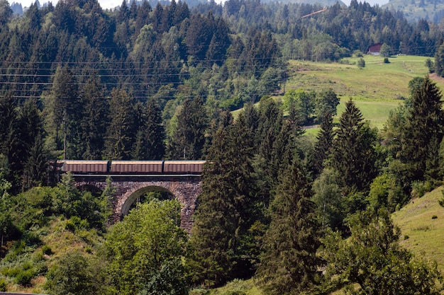 Un pintoresco paisaje alpino con un viejo puente ferroviario. austria.