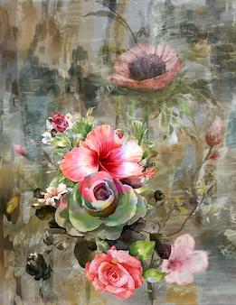 Pintura abstracta de flores de colores. ilustración multicolor de primavera