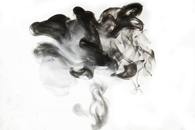 Pintura abstracta en el fondo del agua. nube de humo negro en movimiento sobre blanco, salpicaduras de acrílico en forma de remolino