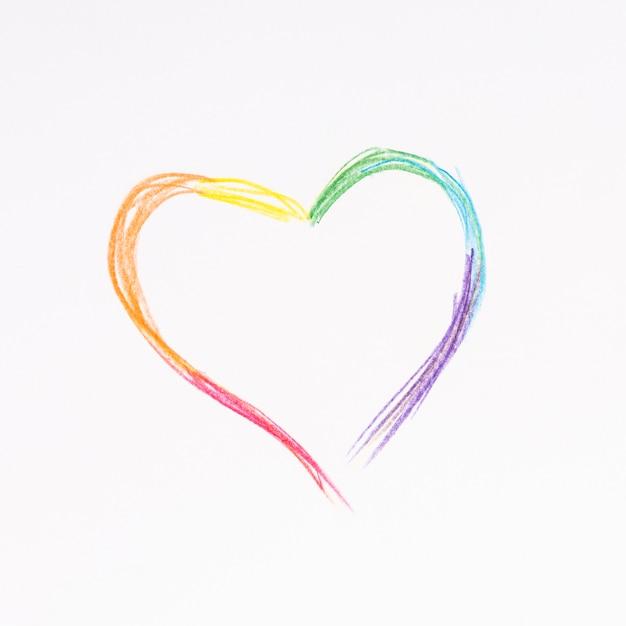 Pintura abstracta multicolor de corazon lgbt.