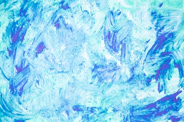 Pintura acrílica azul abstracta sobre lienzo.