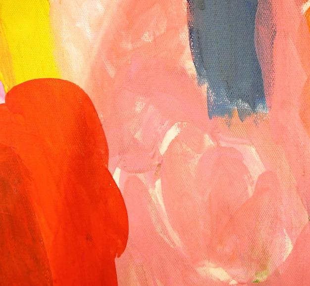 Pintura acrílica de colores rosa y rojo sobre lienzo. fondo abstracto.