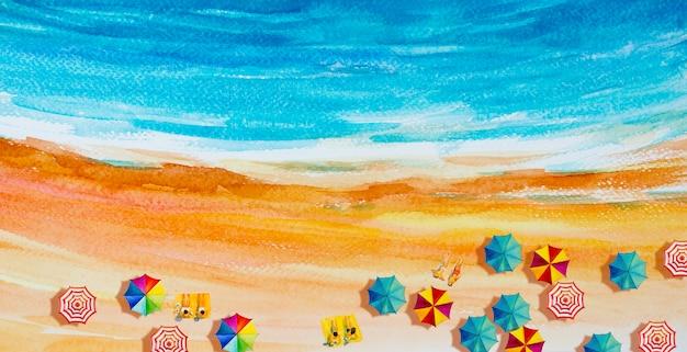 Pintura acuarela paisaje marino vista superior.