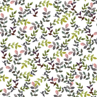 Pintura a la acuarela patrón de hoja patrón de diseño sin costuras