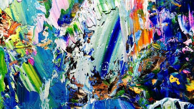 Pintura al óleo abstracta colorida sobre lienzo