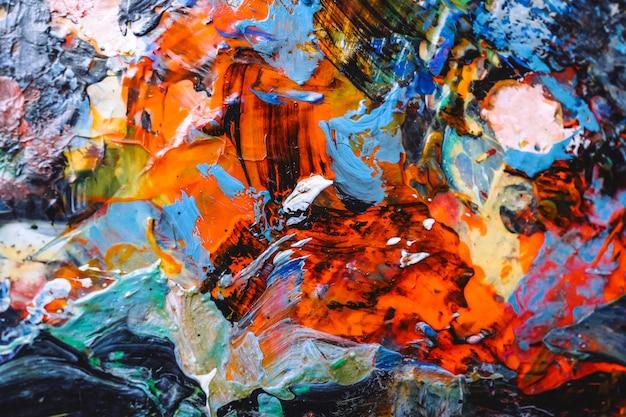 Pintura al óleo dibujada a mano. fondo de arte abstracto. pintura al óleo sobre lienzo. textura de color. fragmento de obra de arte. arte moderno contemporáneo.